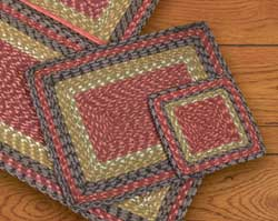 Burgundy, Olive, and Charcoal Cotton Braid Placemat - Rectangle
