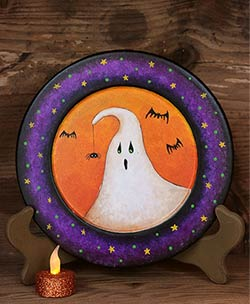 Scaredy Ghost Primitive Halloween Plate