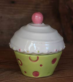 Just Desserts Cupcake Box with Candle - Green and White