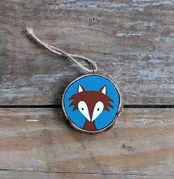 Fox Wood Slice Ornament (Personalized)