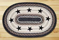 Black Stars Braided Jute Rug