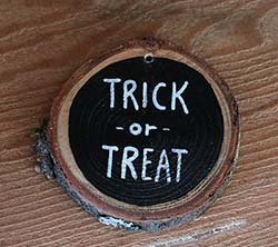 Trick or Treat Wood Slice Ornament (Personalized)