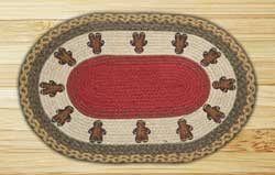 Gingerbread Men Oval Patch Braided Rug