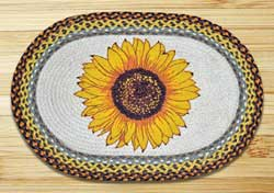 Sunflower Oval Patch Braided Rug