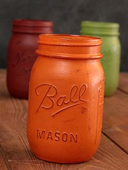 Hand-Painted Mason Jar (Pint) - Pumpkin Orange