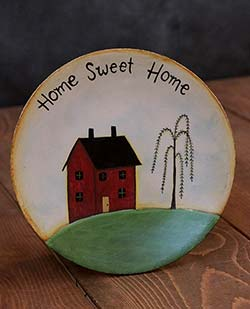 Home Sweet Home Primitive Plate with Saltbox House