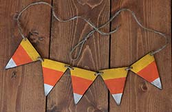 Candy Corn Hand-painted Wooden Mini Pennant Garland