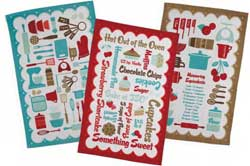 Retro Baking Flour Sack Dishtowel - Red