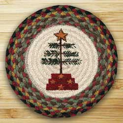 Feather Tree Braided Jute Tablemat - Round (10 inch)