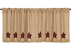 Burgundy Star Burlap Cafe Curtains - 24 inch Tiers