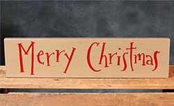Merry Christmas Wood Sign - Tan