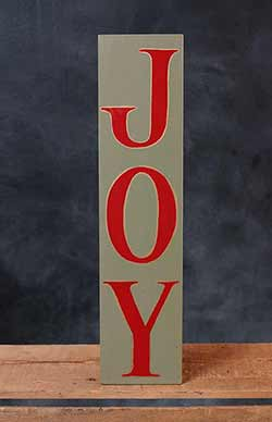 Joy Vertical Hand-Lettered Wooden Sign - Green