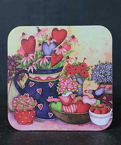 Hearts and Strawberries Coaster