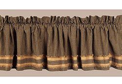 Newbury Gingham Valance with Burlap Fringe - Black and Tan