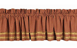 Newbury Gingham Valance with Burlap Fringe - Barn Red and Tan