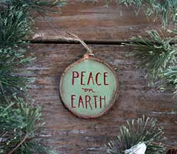 Peace on Earth Wood Slice Ornament (Personalized)