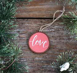 Love Wood Slice Ornament - Salmon Pink (Personalized)