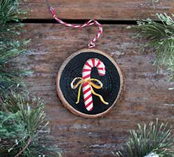 Candy Cane Wood Slice Ornament (Personalized)