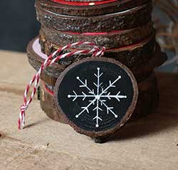 Simple Snowflake Wood Slice Ornament (Personalized)