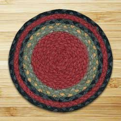 Burgundy, Olive, and Charcoal Braided Jute Tablemat