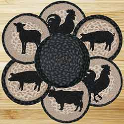 Barnyard Animals Braided Jute Trivet Set