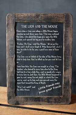 Lion and Mouse Folk Tale Blackboard