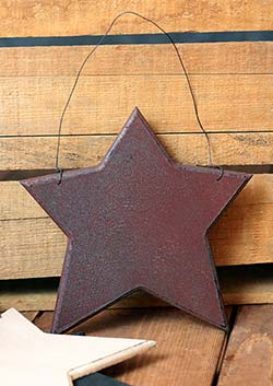 Wood Star Ornament - Burgundy