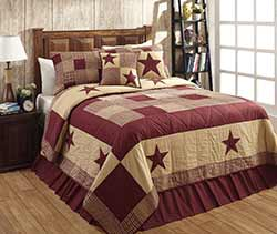 Jamestown Burgundy & Tan Quilt Set