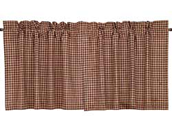 Patriotic Patch Plaid Cafe Curtains - 24 inch Tiers