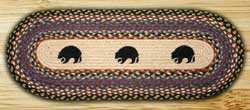 Black Bears Braided Table Runner - 48 inch