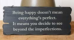 Being Happy Tattered Wood Sign - Black