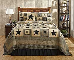 Colonial Black Star Quilt Set