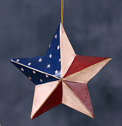 Hand-Painted Patriotic Star Ornament