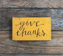 Give Thanks Wooden Sign (Mustard Yellow)