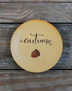 Autumn Hand Painted Decorative Plate with Acorn