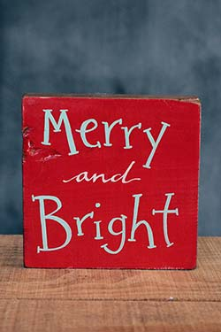 Merry & Bright Shelf Sitter Sign