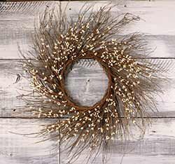Ivory Pip Berry & Twig Wreath