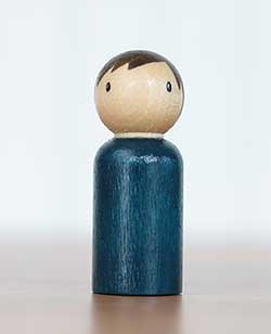 Simple Blue Boy Peg Doll (or Ornament)