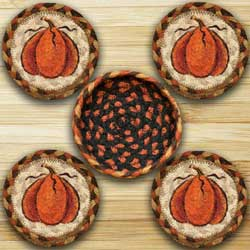 Harvest Pumpkin Braided Coasters Set