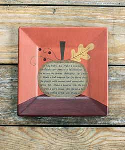 Fall Bucket List Pumpkin Primitive Plate - Orange