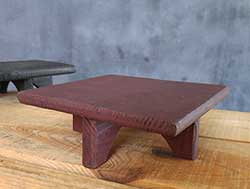 Square Wood Primitive Candle Riser - Burgundy