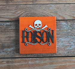 Poison Halloween Wood Sign - Orange