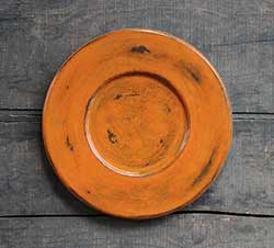 Distressed Wood Candle Plate - Pumpkin Orange