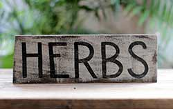 Herbs Hand Lettered Wood Sign (Cream and Black)