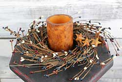 Patriotic Pip Berry & Rusty Star Small Wreath or Candle Ring (10 inch)