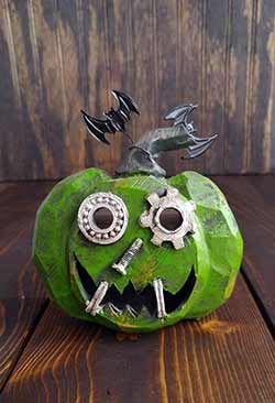 Gears Light Up Mini Pumpkin - Green