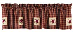 Cambridge Wine Plaid Valance with Stars