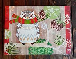 Christmas Owl Light Up Canvas Wall Decor
