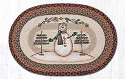 Moon Star Snowman Braided Rug