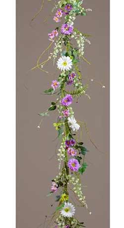 White & Lilac Daisy Garland